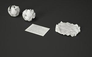 3d crumpled paper