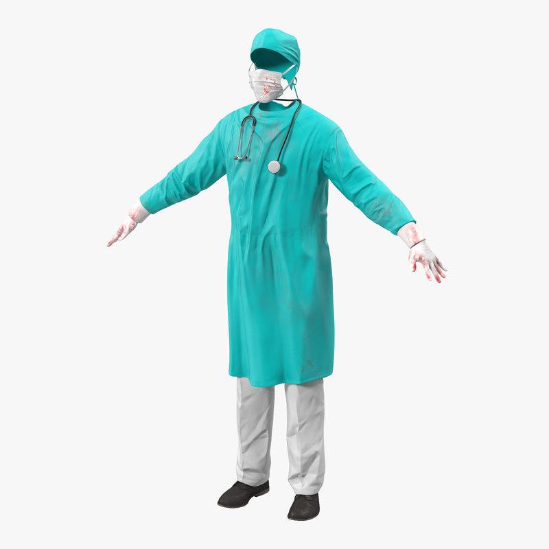 3d model surgeon dress 2 modeled