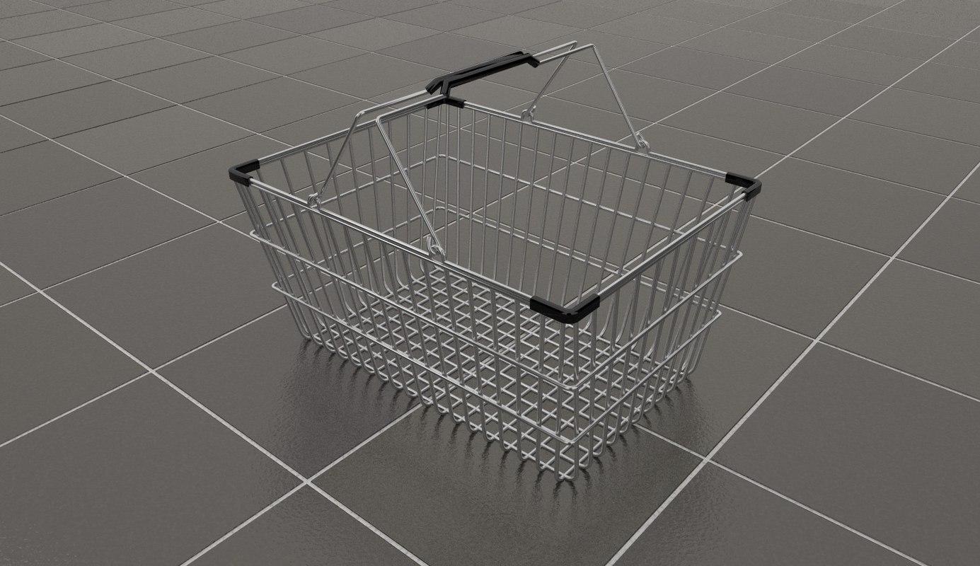 wire shopping basket 3d model