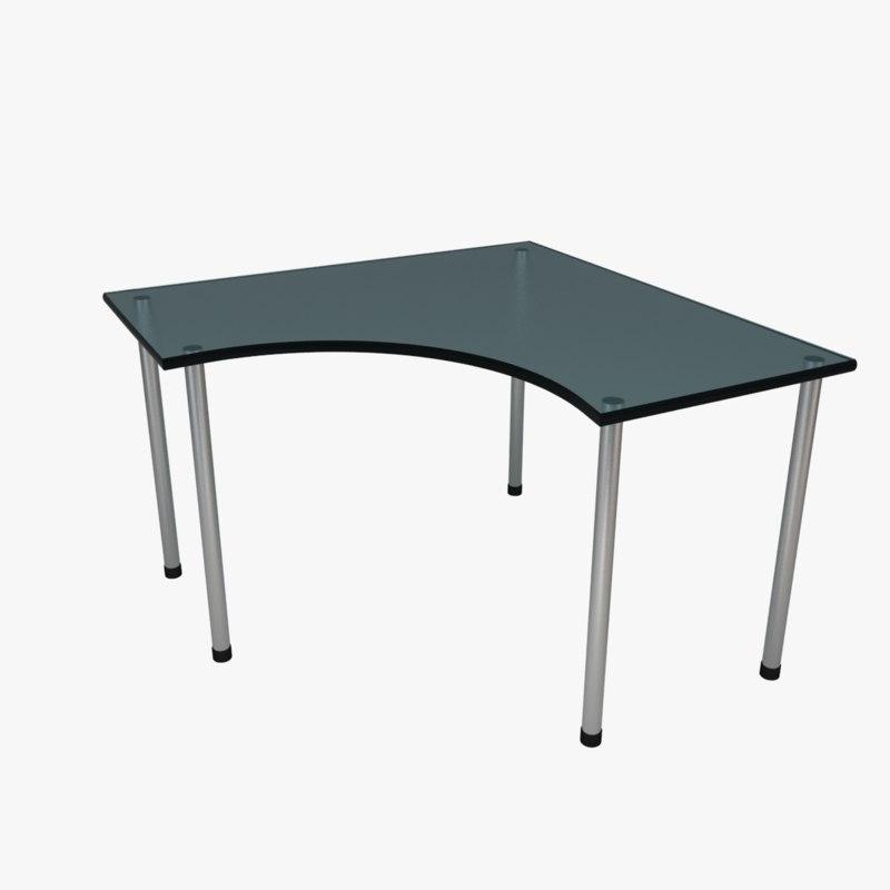 corner desk glass blue 3d 3ds