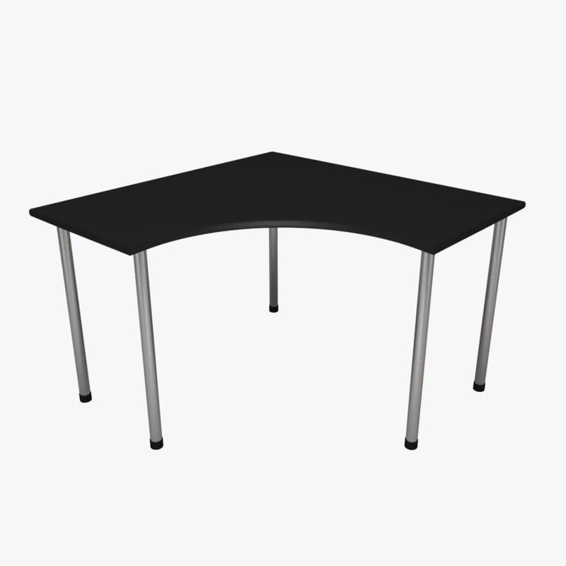 3d corner desk black red