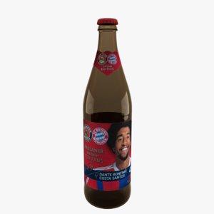 paulaner weissbier beer bottle 3d model