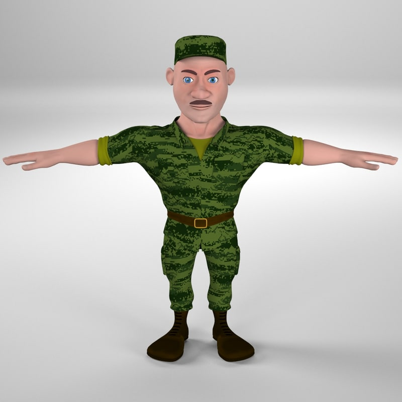 3d cartoon soldier toon