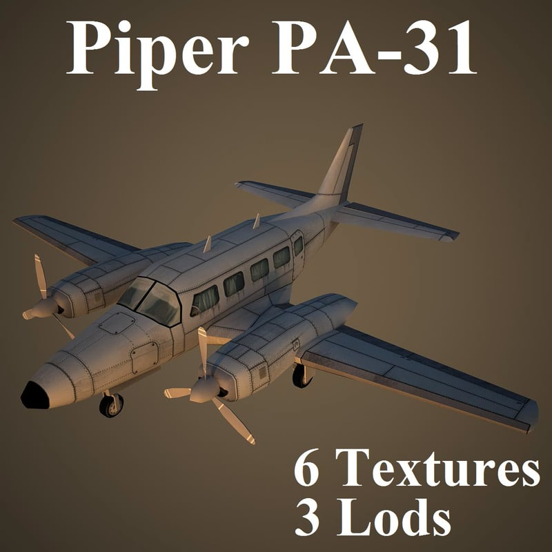 3d model of piper navajo low-poly