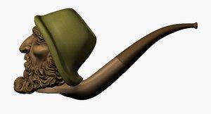 3d model pipe tobacco smoke