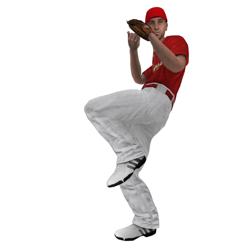 3ds max rigged baseball player