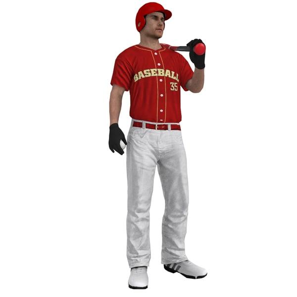 3ds max rigged baseball player bat