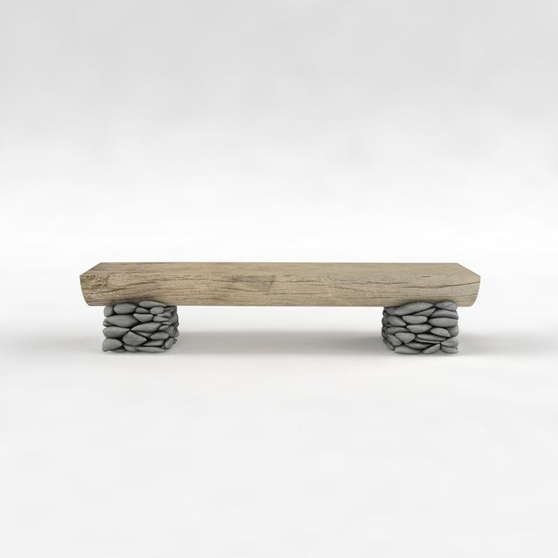 3d bench street park model