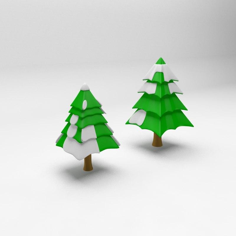 model cartoon spruce tree 2