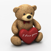 3d model teddy bear love