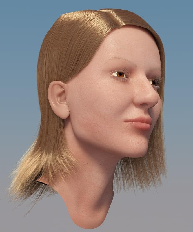 3d model of girl head