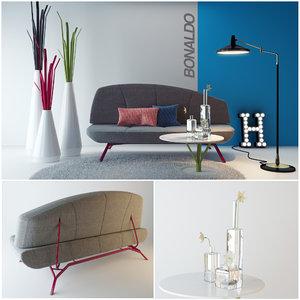 set bonaldo sofa table 3d model