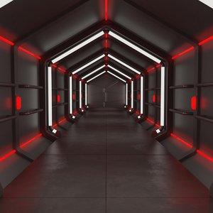 3d model modular sci-fi corridor