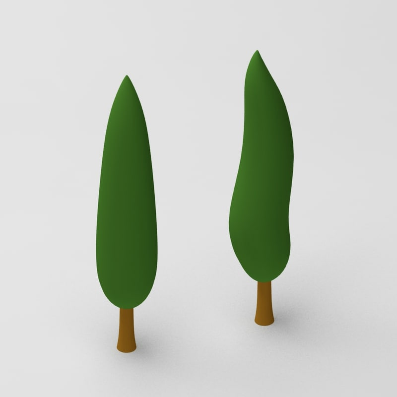 cartoon cypressus tree 3d model