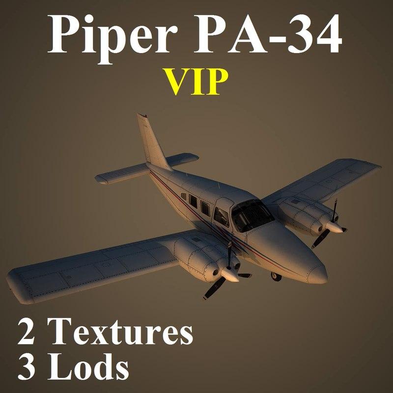 3d model piper seneca vip