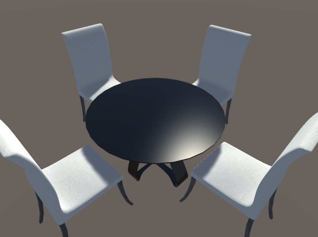 forniture set chair table 3d 3ds