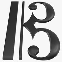 3d c clef symbol modeled