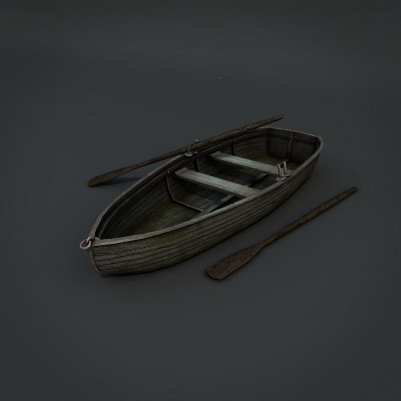 3d old wooden boat model
