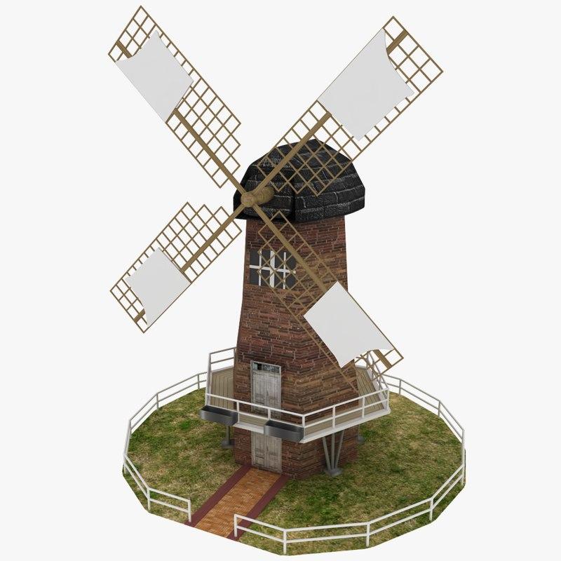 3d model windmill wind milling