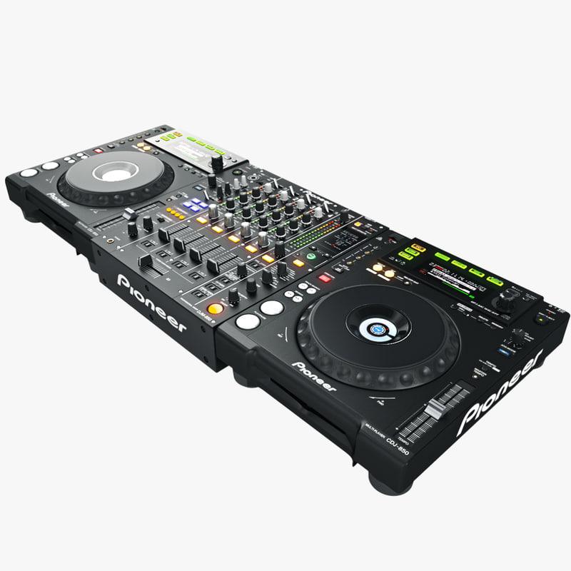dj set pioneer black 3d model