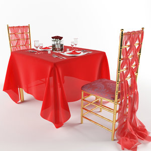 3d romantic table chairs model