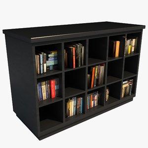 modern bookcase books 3d 3ds