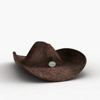3d model leather cowboy hat