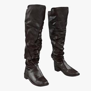 3d model medieval leather boots modeled