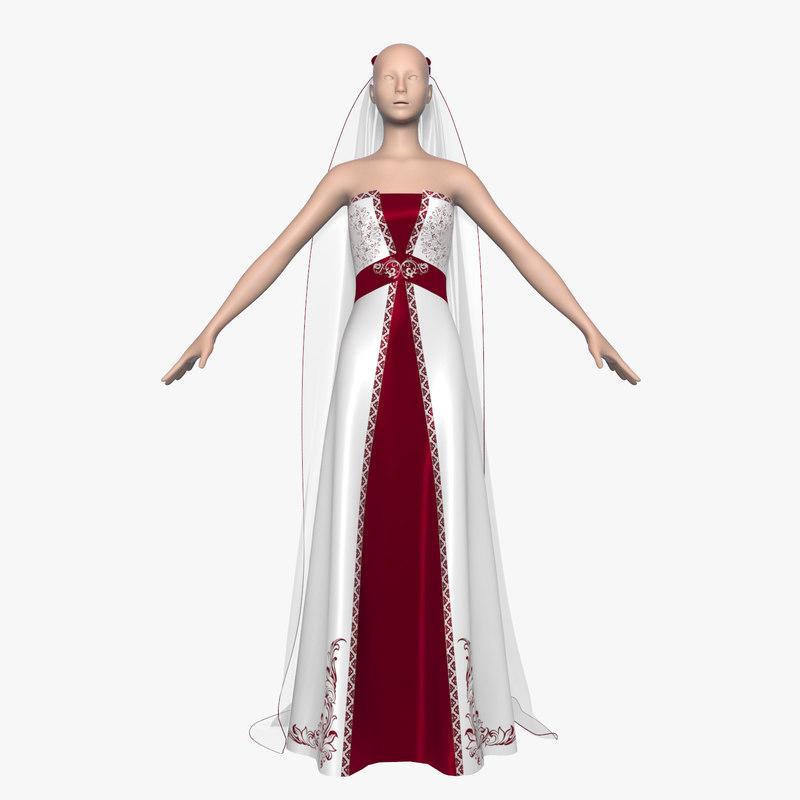 wedding dress 013 female 3d model