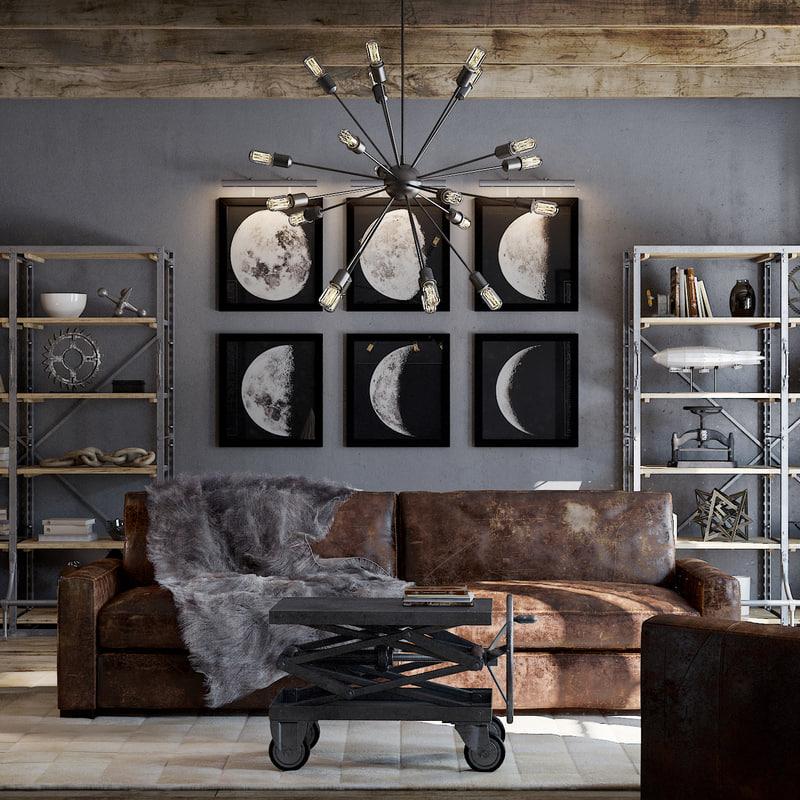 3d model living room industrial
