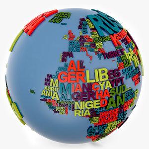 3d continent world globe model