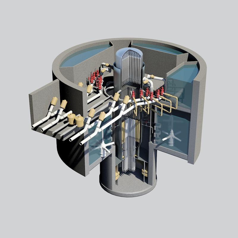 3d nuclear reactor - cutaway