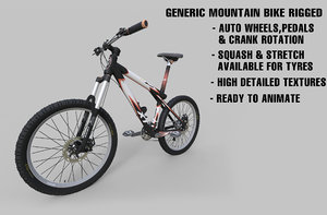 3d model generic mountain bike rigged