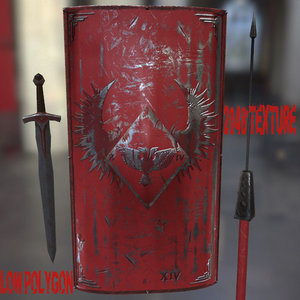 3d model of shield sword spear