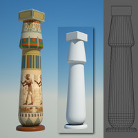 egyptian column egypt 3d x
