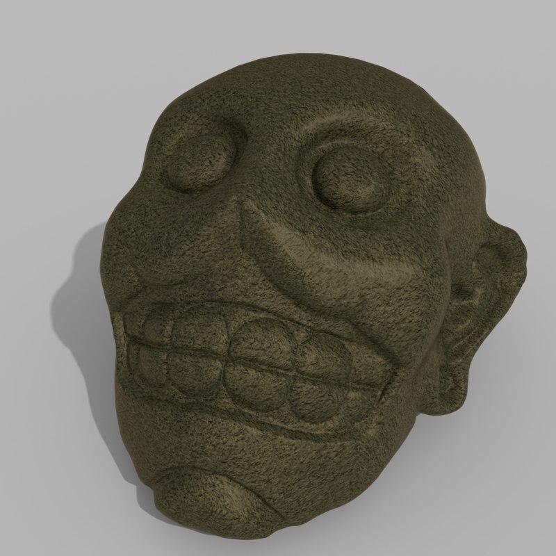 mayan face sculpture 3d model