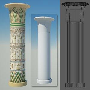 egyptian column egypt 3d obj