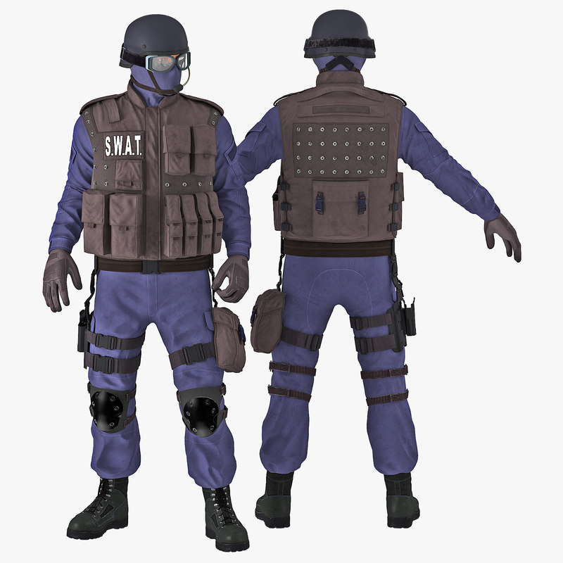 3d model of swat policeman rigged