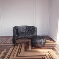 black lace chair ottoman 3d max