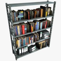 Metal Shelving With Books And Files