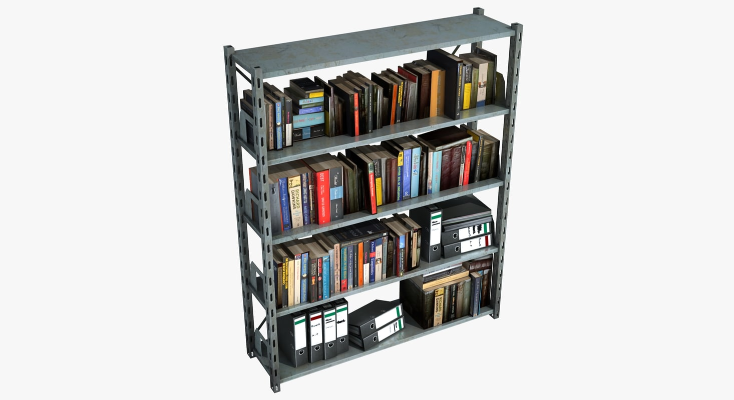 metal shelving unit books 3d model