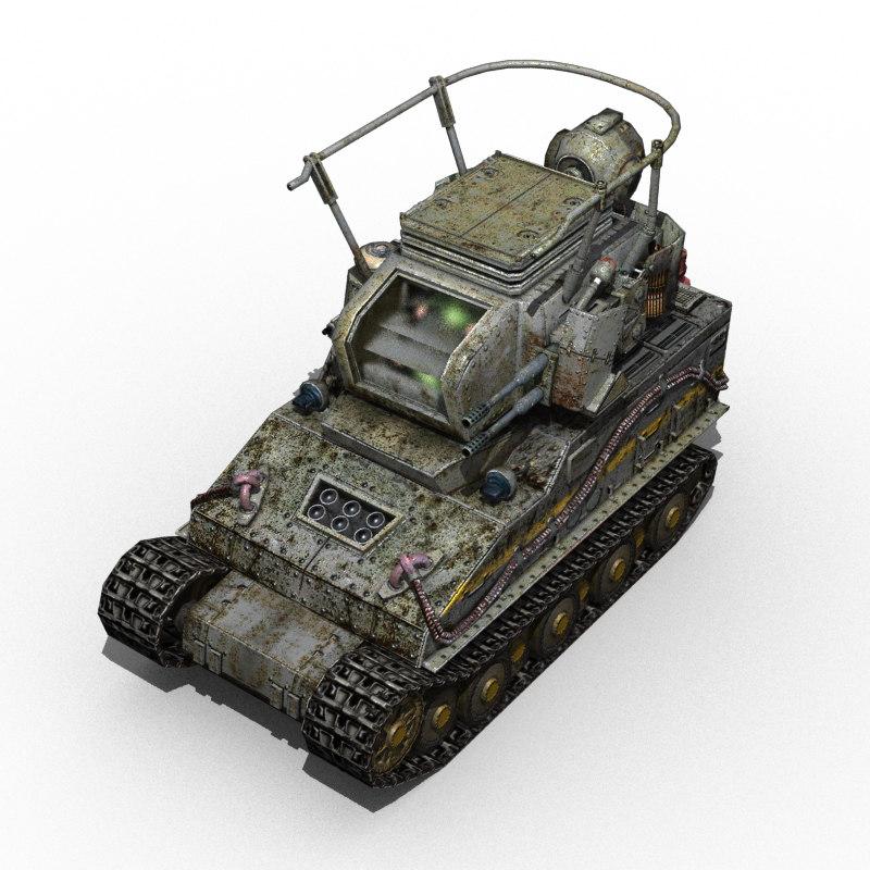 3d model fictional tank gun monster