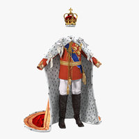 Royal King Costume with Fur 3D Model