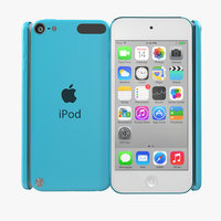 3d ipod touch blue modeled model