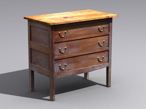 3d model old wooden table