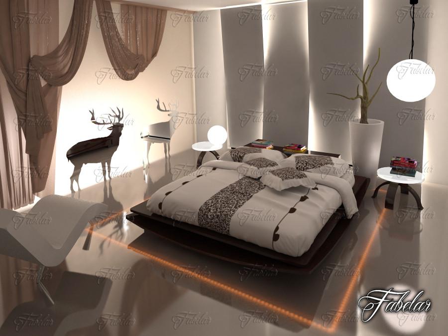 bedroom scene 3d obj