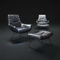 3d obj leya-lounge-chair-and-ottomane