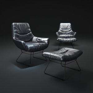 3d obj leya-lounge-chair-and-ottomane