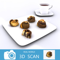 scanned rose shaped cookies 3d 3ds