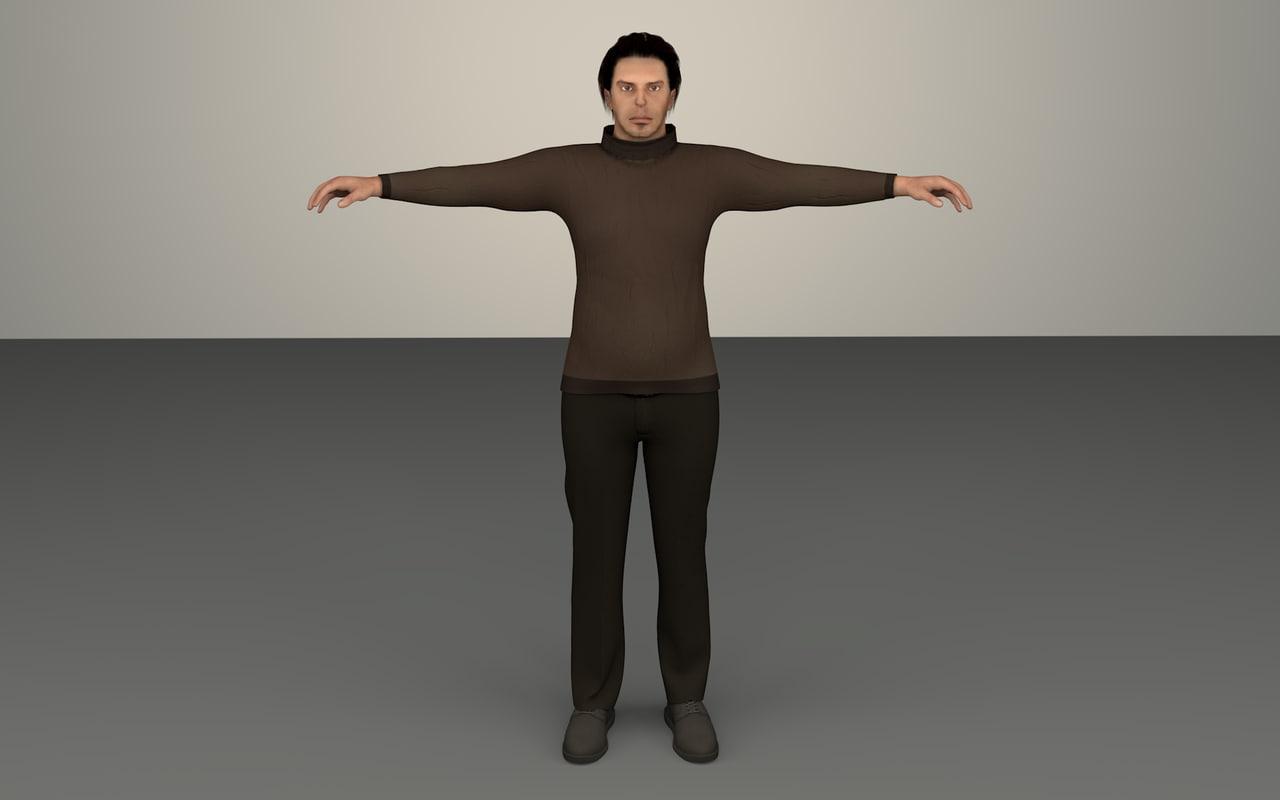 3d man evil character model